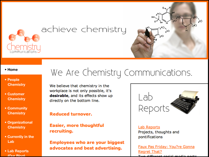 Web site designed by Creative Sharks for Chemistry Communications