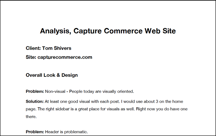 Web Site Analysis by Creative Sharks for Capture Commerce